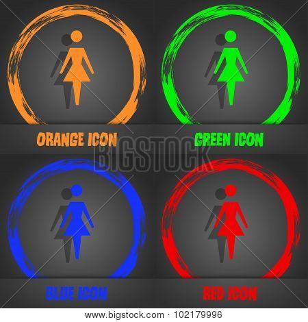 Female Sign Icon. Woman Human Symbol. Women Toilet. Fashionable Modern Style. In The Orange, Green,