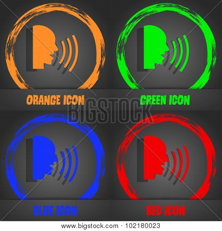 Talking Flat Modern Web Icon. Fashionable Modern Style. In The Orange, Green, Blue, Red Design. Vect