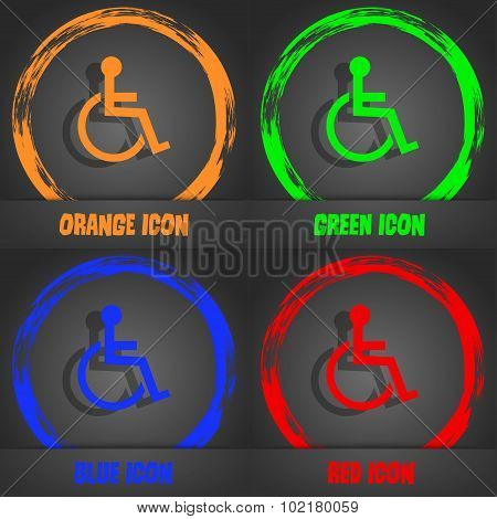 Disabled Sign Icon. Human On Wheelchair Symbol. Handicapped Invalid Sign. Fashionable Modern Style.