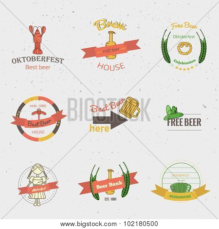 Vector Line Beer labels Oktoberfest. Modern Thin Line Icons for Web and Mobile. Fest Alcohol Beer Ic