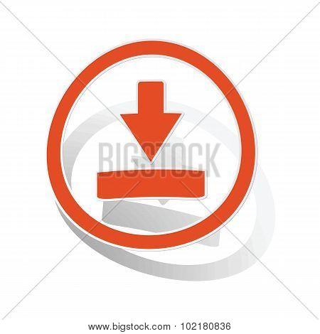 Download sign sticker, orange