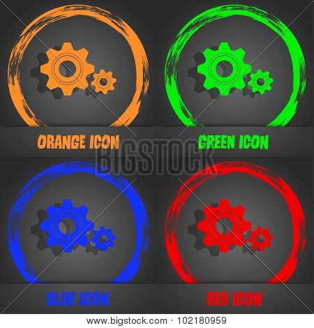 Cog Settings Sign Icon. Cogwheel Gear Mechanism Symbol. Fashionable Modern Style. In The Orange, Gre