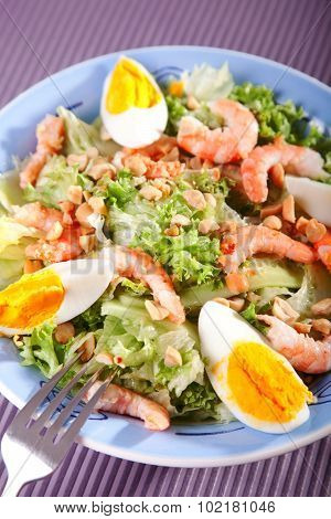 Mediterranean Salad With Shrimps And Eggs