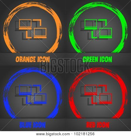 Synchronization Sign Icon. Notebooks Sync Symbol. Data Exchange. Fashionable Modern Style. In The Or