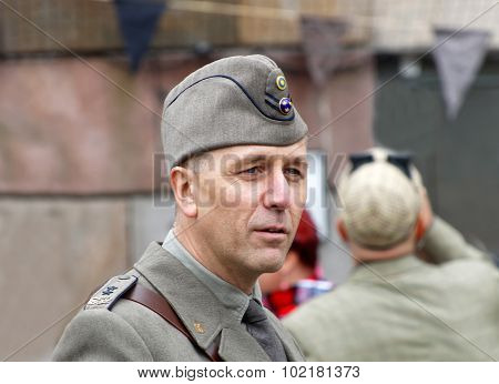 Man Wearing Old Fashioned Military Clothes
