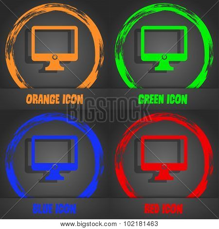 Computer Widescreen Monitor Sign Icon. Fashionable Modern Style. In The Orange, Green, Blue, Red Des
