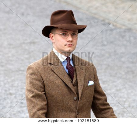 Man Wearing Old Fashioned Brown Tweed Clothes