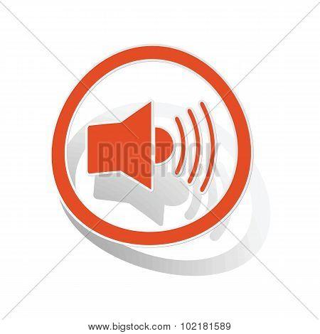 Loudspeaker sign sticker, orange