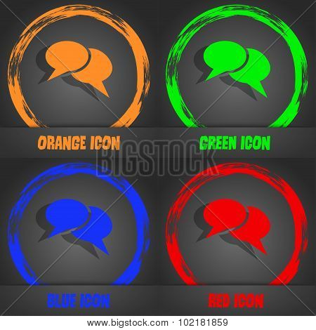 Speech Bubble Icons. Think Cloud Symbols. Fashionable Modern Style. In The Orange, Green, Blue, Red