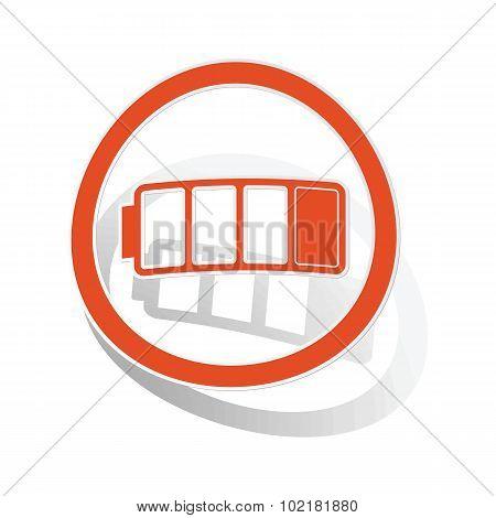 Low battery sign sticker, orange