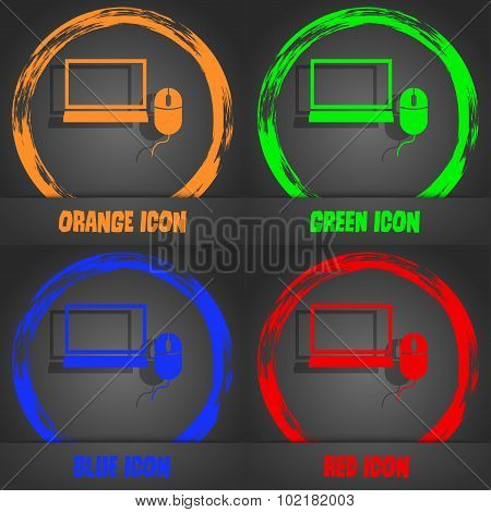 Computer Widescreen Monitor, Mouse Sign Icon. Fashionable Modern Style. In The Orange, Green, Blue,