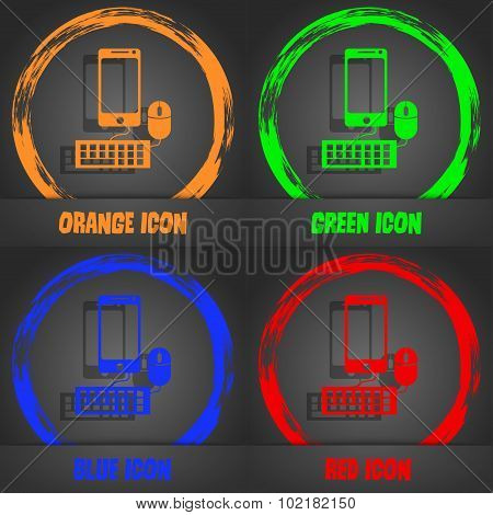 Smartphone Widescreen Monitor, Keyboard, Mouse Sign Icon. Fashionable Modern Style. In The Orange, G