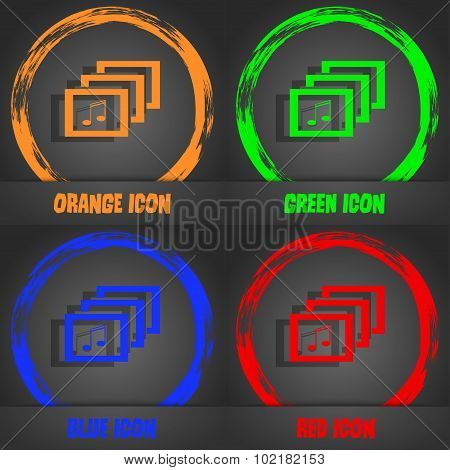 Mp3 Music Format Sign Icon. Musical Symbol. Fashionable Modern Style. In The Orange, Green, Blue, Re