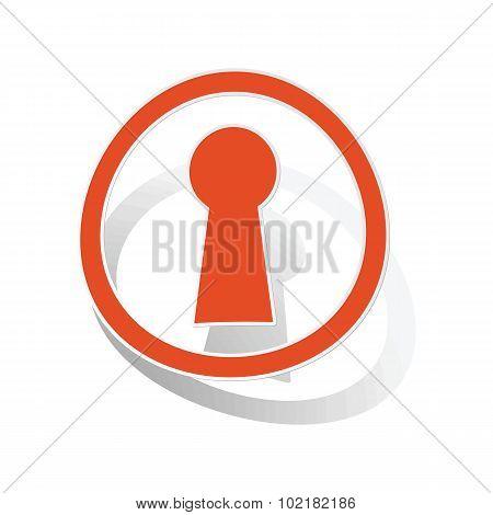 Keyhole sign sticker, orange