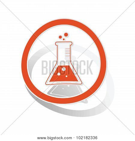 Conical flask sign sticker, orange