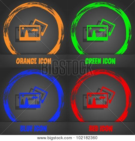 Copy File Jpg Sign Icon. Download Image File Symbol. Fashionable Modern Style. In The Orange, Green,