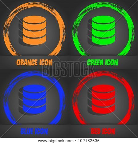 Hard Disk And Database Sign Icon. Flash Drive Stick Symbol. Fashionable Modern Style. In The Orange,