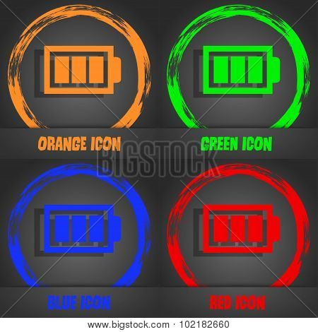 Battery Fully Charged Sign Icon. Electricity Symbol. Fashionable Modern Style. In The Orange, Green,