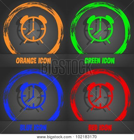 Alarm Clock Sign Icon. Wake Up Alarm Symbol. Fashionable Modern Style. In The Orange, Green, Blue, R