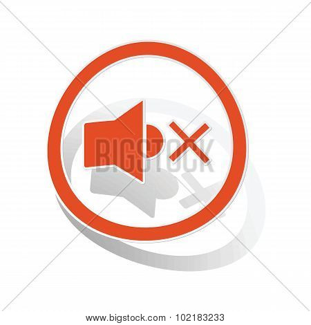 Muted sound sign sticker, orange