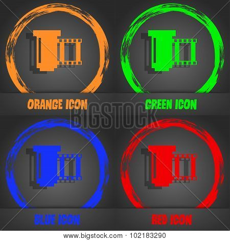 Negative Films Icon Symbol. Fashionable Modern Style. In The Orange, Green, Blue, Red Design. Vector