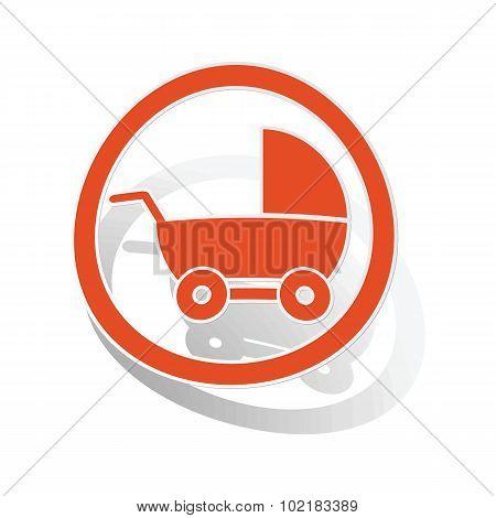 Stroller sign sticker, orange