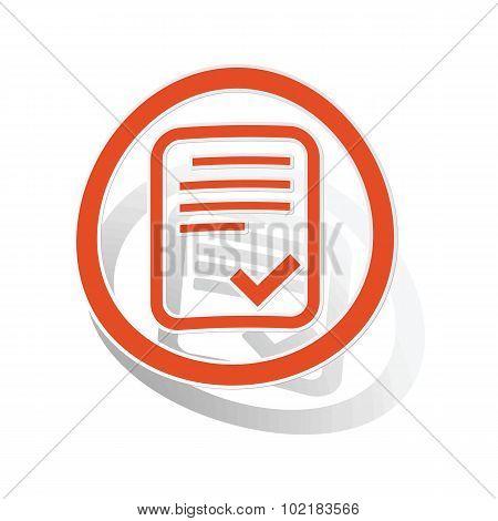 Approved document sign sticker, orange