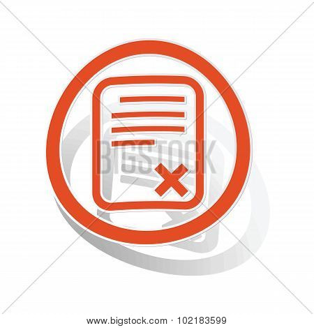 Declined document sign sticker, orange