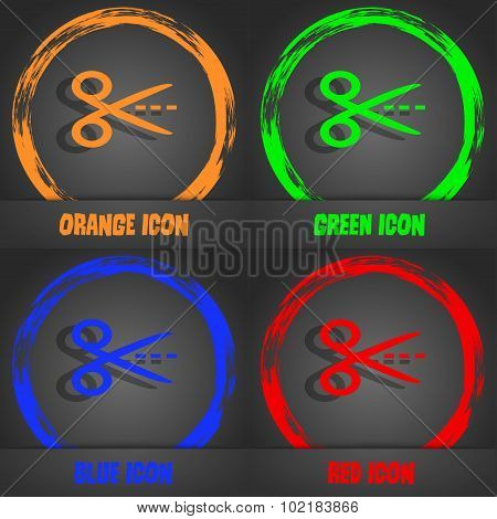 Scissors With Cut Dash Dotted Line Sign Icon. Tailor Symbol. Fashionable Modern Style. In The Orange