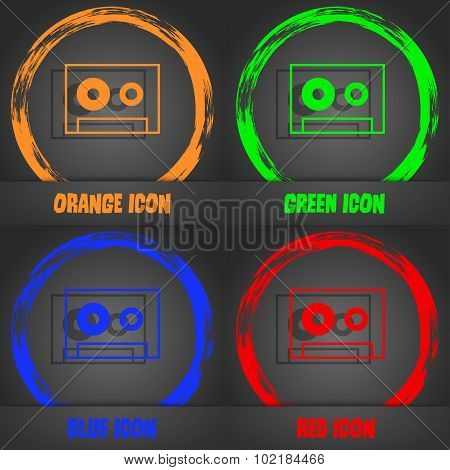 Cassette Sign Icon. Audiocassette Symbol. Fashionable Modern Style. In The Orange, Green, Blue, Red