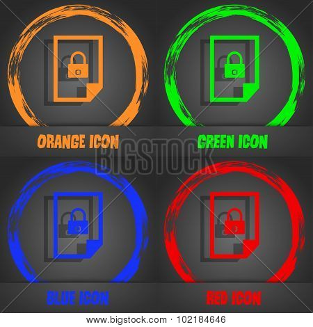File Locked Icon Sign. Fashionable Modern Style. In The Orange, Green, Blue, Red Design. Vector