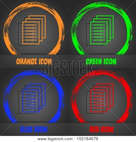 Copy File Sign Icon. Duplicate Document Symbol. Fashionable Modern Style. In The Orange, Green, Blue