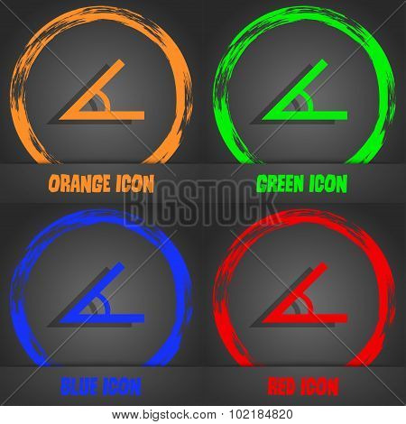 Angle 45 Degrees Icon Sign. Fashionable Modern Style. In The Orange, Green, Blue, Red Design. Vector