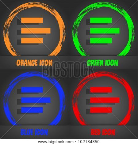 Left-aligned Icon Sign. Fashionable Modern Style. In The Orange, Green, Blue, Red Design. Vector