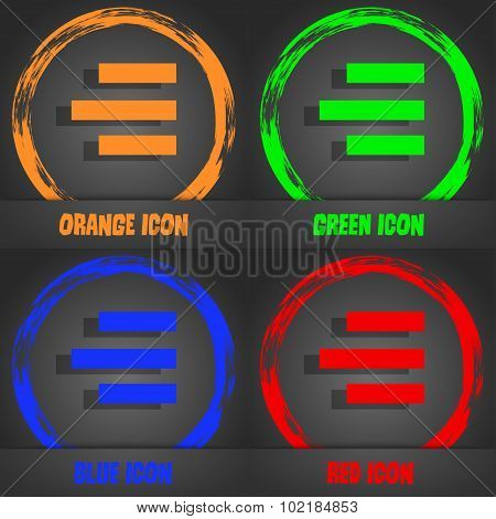 Right-aligned Icon Sign. Fashionable Modern Style. In The Orange, Green, Blue, Red Design. Vector