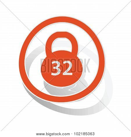Kettlebell sign sticker, orange