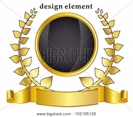 Gold Laurel Wreath and frame On White Background
