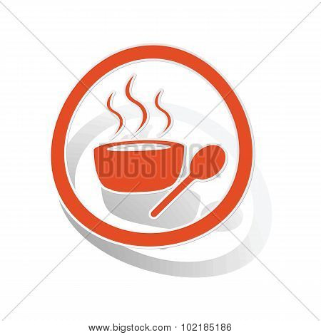 Hot soup sign sticker, orange