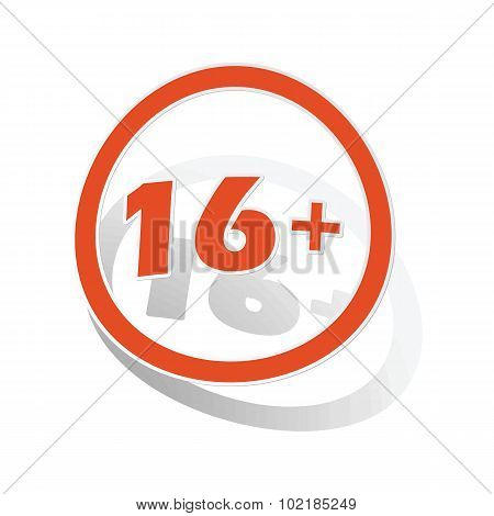 16 plus sign sticker, orange