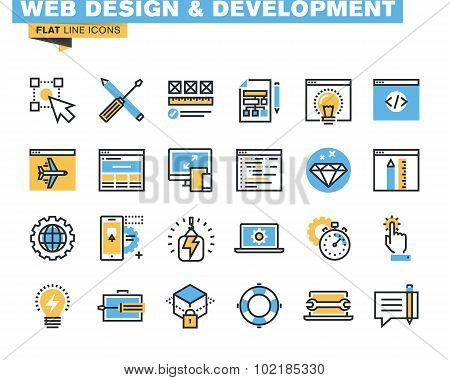 Flat line icon pack for web design and development
