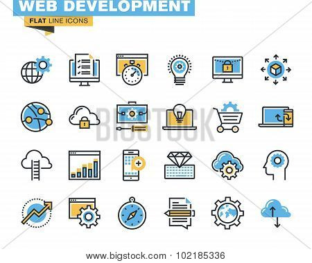 Flat line icon pack for web development
