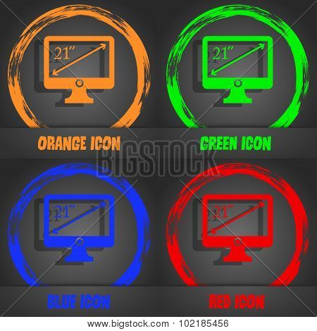 Diagonal Of The Monitor 21 Inches Icon Sign. Fashionable Modern Style. In The Orange, Green, Blue, R