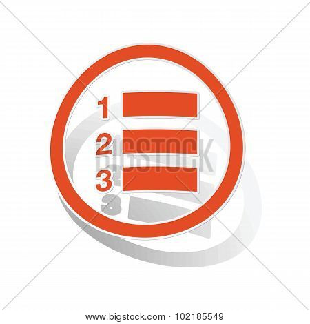 Numbered list sign sticker, orange