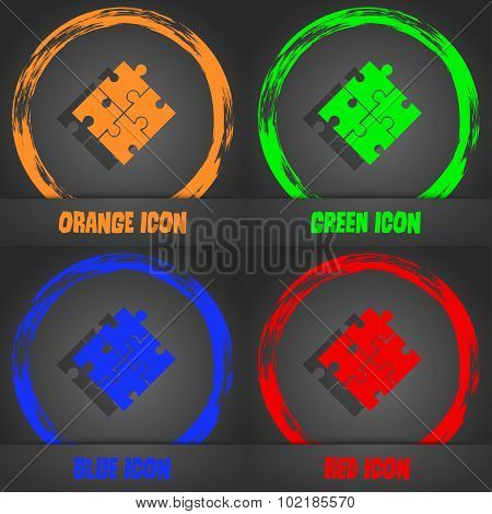 Puzzle Piece Icon Sign. Fashionable Modern Style. In The Orange, Green, Blue, Red Design. Vector