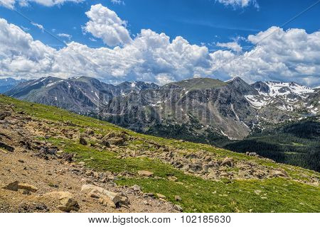 Rocky Meadow With Rocky Mountains