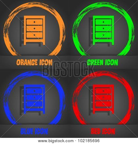 Nightstand Icon Sign. Fashionable Modern Style. In The Orange, Green, Blue, Red Design. Vector