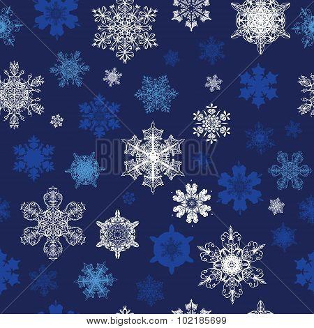 Vector Dark Blue White Snowflakes Winter Holidays Seamless Pattern