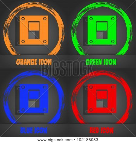 Power Switch Icon Sign. Fashionable Modern Style. In The Orange, Green, Blue, Red Design. Vector