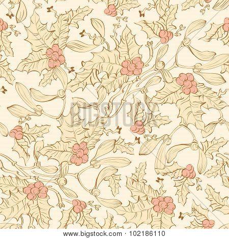 Vector Vintage Mistletoe Holly Berries Seamless Pattern. Yellow Pink Sienna Brown