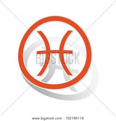 Pisces sign sticker, orange